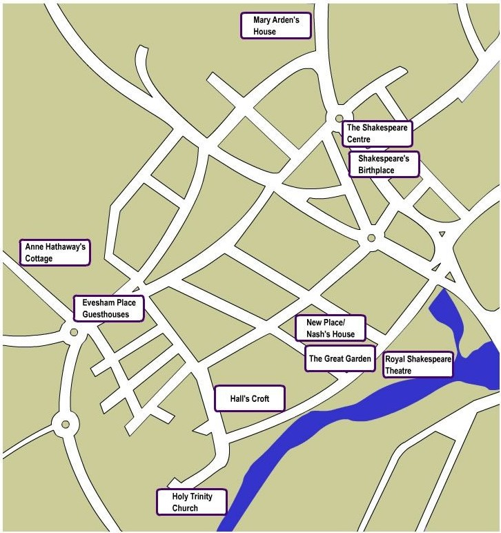 A street map of Stratford-upon-Avon and the important Shakespeare locations.